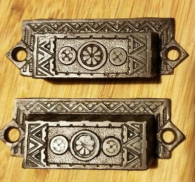 Pair Ornate Antique Eastlake Victorian Cast Iron Bin Pulls Drawer Handles