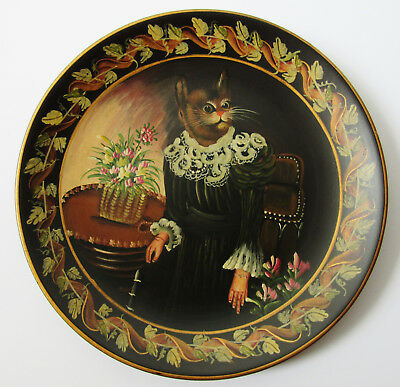 VICTORIAN LADY DRESSED  CAT COLLECTOR PLATE With Wood Stand