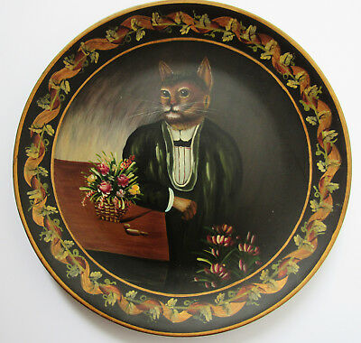 VICTORIAN MAN SUIT DRESSED  CAT COLLECTOR PLATE With Black Plate Stand