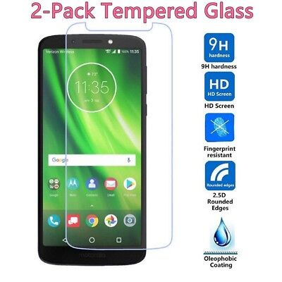 2X Premium Tempered Glass Screen Protector Cover Film For Motorola Moto G6 Play