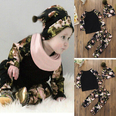 3PC Newborn Toddler Kids Baby Floral Print Top Clothes+Long Pant+Hat Set Outfit