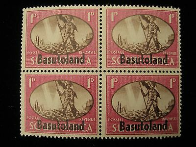 Basutoland - Block of 4 imprinted on South Africa 1D stamp - MNH