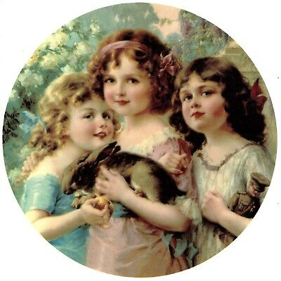 "1 Victorian Girls with Bunny Rabbit 7-1/2"" Waterslide Ceramic Decal Xx"