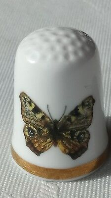 Butterfly Wild Flowers Illustrated Fine Bone China Souvenir Thimble Made England