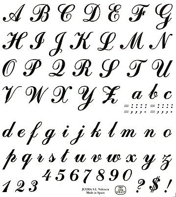 "Script Alphabet Letters Numbers Black 1"" tall Waterslide Ceramic Decals Xx"