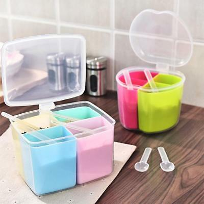 4 in 1 Spice Jar Condiment Storage Seasoning Bottle Container Kitchen Box AU