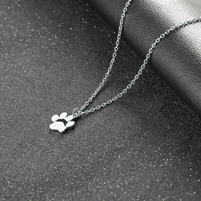Minimalist  Pet Dog Cat Paw Print Pendant Chain Women Girls Necklace Gift CB