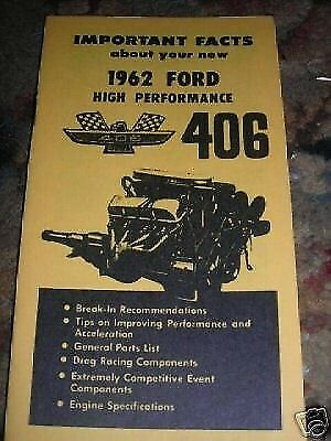 1962 1963 Ford Galaxie 406Hp 406 High Performance Owners Manual Supplement Bookl