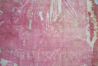 Summer Clearout, Faded Fragment Quilted 19Th Century French Toile De Jouy 245.