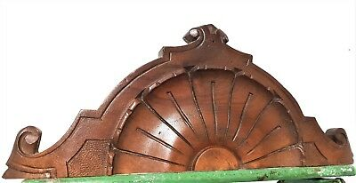 Achitectural crown shell pediment antique french hand carved wood salvaged crest