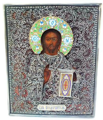 Antique 19th C Russian Icon of Jesus Christ in 84 Silver Filigree, Enamel Frame