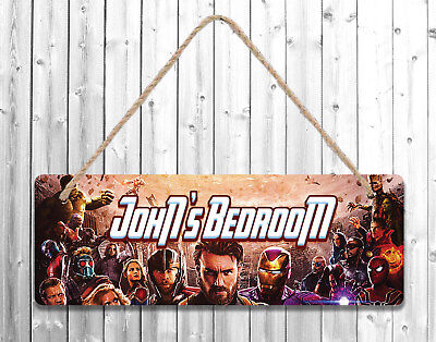Personalised Any Name Avengers Printed Wall Door Plaque Wooden Sign Gift 3