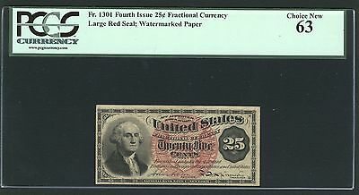 """U.s. 1869-75 25 Cents Fractional Currency Fr-1301 Certified Pcgs """"choice-63"""""""