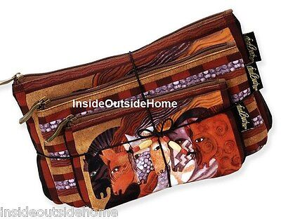 Laurel Burch Moroccan Mares Horse Makeup Bag 3pc Makeup Set + Tie String New