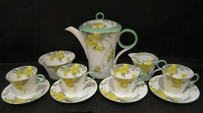 Rare Shelley Art Deco Coffee Set, Regent Shape Green Acacia, Excellent Condition
