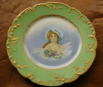 Antique H & co Plate -Hand Painted- L. France -Lovely Victorian Lady,Girl-Signed