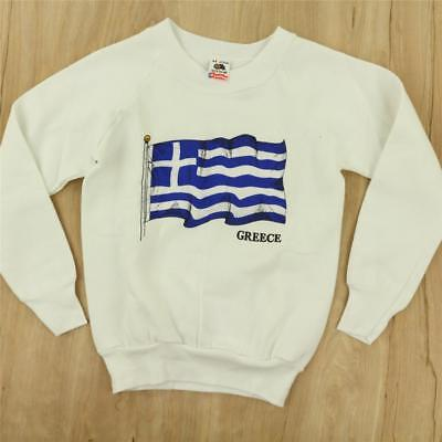 vtg 80s 90s usa made nos nwot GREECE raglan sweatshirt size 6 - 8 cute