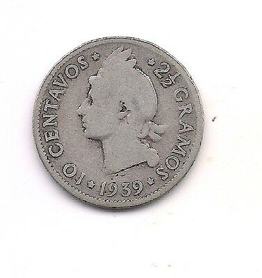 1939 Dominican Republic Silver Ten Centavos --KEY DATE !!