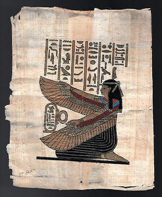 Hand Painted signed EGYPTIAN ART on real PAPYRUS from EGYPT Goddess Winged ISIS