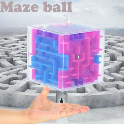2X 3D Cube Puzzle Maze Hand Game Case Box Fun Brain Game Challenge Fidget Toy DE
