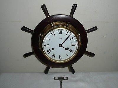 Vintage Schatz Ships Bell Clock in Good Condition and Working Order, With Key.