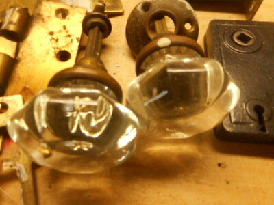 antique glass door knobs brass hinges lock mechanism vintage parts doorknobs