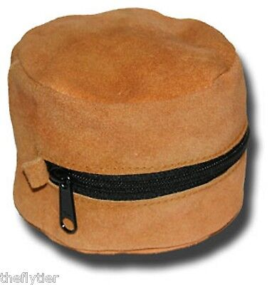 Suede Leather Reel Case Fly Fishing New with Heavy Duty Zipper