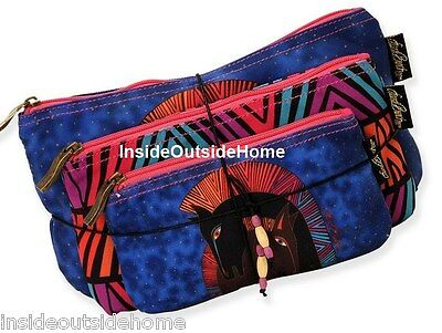 Laurel Burch Embracing Horses Makeup Bag 3pc Organizer Set + Tie String NEW