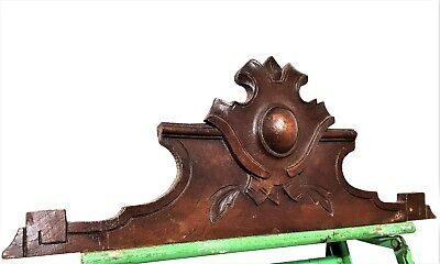 Coat Of Arms Pediment Antique French Hand Carved Wood Salvaged Crest Cornice