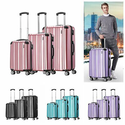 "20"" 24"" 28"" Hard Shell Cabin Suitcase Lightweight 4 Wheel Spinner Travel Luggage"
