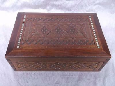 697 / Early 20Th Century Hand Made And Hand Carved Wooden Box With Inset Beads