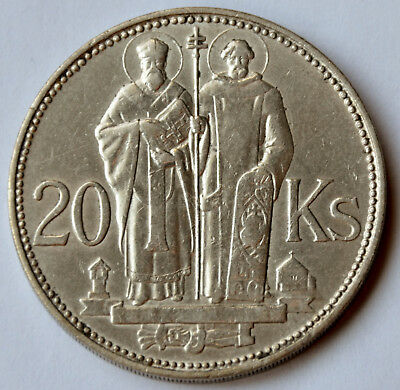 Slovakia 20 Korun, 1941, Saint Kyrill and Saint Methodius, silver coin