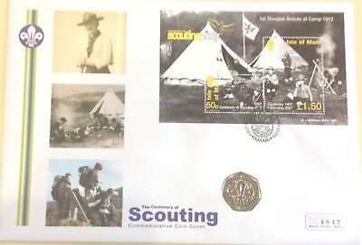 2007 Isle Of Man Scouting Minisheet With Matching Coin