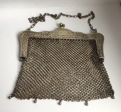 Antique Silver Plated Ladies Mesh Purse