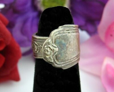 Vintage SPOON RING Heavy ROSE PATTERN Silvertone Silver Plate Wrap Size 3.5