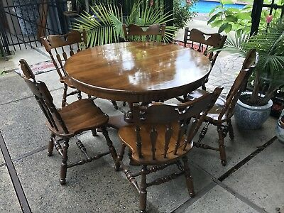 """6 Early AmerIcan Temple Stuart Chairs Rockingham Maple Round Table 48""""w/2 Leaves"""