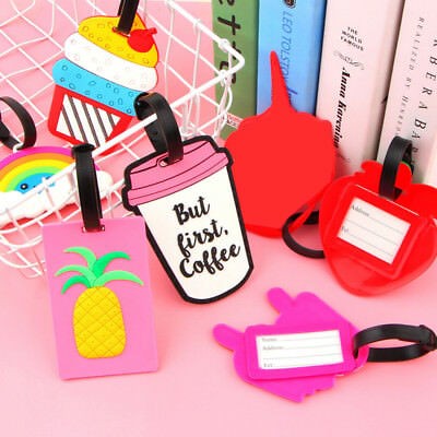 PVC Silicone Luggage Tags Travel Bags Name ID Address Label Ice Cream Alpaca