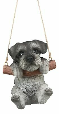 "Realistic Mini Schnauzer Macrame Branch Fence Hanger 5.25""Tall With Jute Strings"