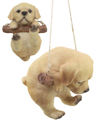 """Realistic Labrador Puppy Macrame Branch Fence Hanger 5""""Tall With Jute Strings"""