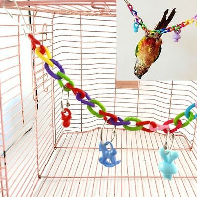 Colorful Bird Parrot Swing Cage Toys For Parakeet Cockatiel Budgie Lovebird JT
