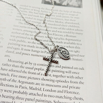 new Popular Fashion Jewelry women 925 Sterling silver Cross Mary coin necklace