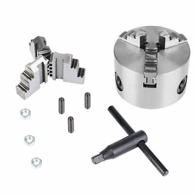 """3"""" K11-80 Self-Centering 3-Jaw Lathe Chuck With Extra Jaws Machine Accessories"""