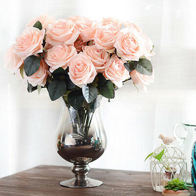 10 Head Bouquet Artificial French Rose Floral Fake Flower Wedding Party Decor AU