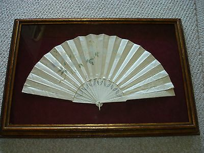 1900's Antique Chinese French hand painted silk fan carved sticks signed framed