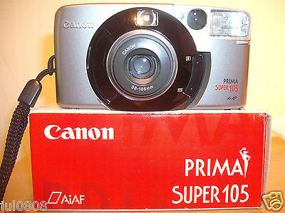 Boxed Canon Prima Super 105 35Mm Film Camera~38-105Mm Lens~Timer~Autofocus 25O12