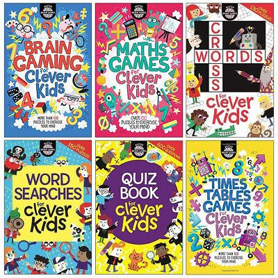 Buster Brain Games and Crosswords Clever kids 6 Books Collection Set NEW