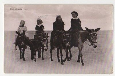 The Donkey Ride Donkeys Vintage Postcard US091