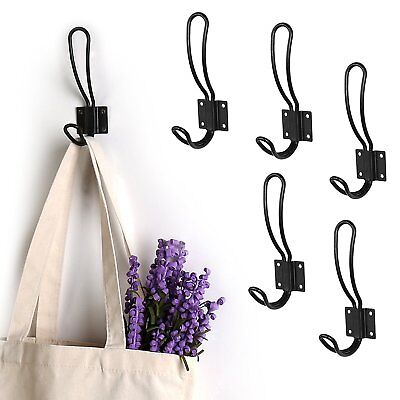 6X Diy Loop Design Cast Iron Vintage Style Coat Hooks Coat Hat Wall Hangings Au