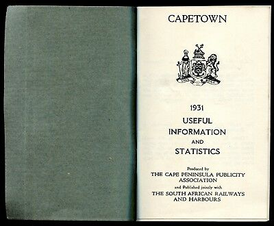 CAPETOWN . THE SOUTH AFRICAN RAILWAYS AND HARBOURS . 1931 . guide  ancien
