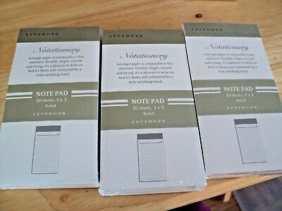NEW SEALED Levenger Notationery Stationery 3x5 RULED NOTE PAD 150 sheets total